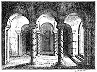 A 19th century engraving of the crypt at Repton where Wiglaf was interred.