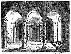 "Medeshamstede - A 19th-century engraving of the crypt at Repton, begun in the 8th century – described by Pevsner as ""one of the most precious survivals of Anglo-Saxon architecture in England""."