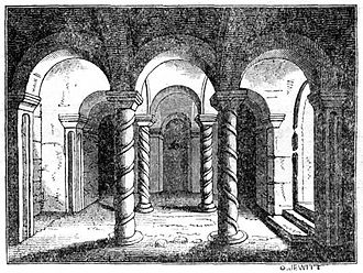 Æthelbald of Mercia - A 19th-century engraving of the crypt at Repton where Æthelbald was interred.