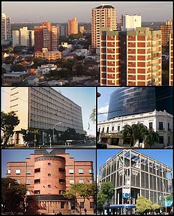 (From top to bottom; from left to right) Panoramic view of the city; Chaco Government House; Palacio de Justicia of Resistencia; Resistencia Casino & Hotel and the New Bank of Chaco.
