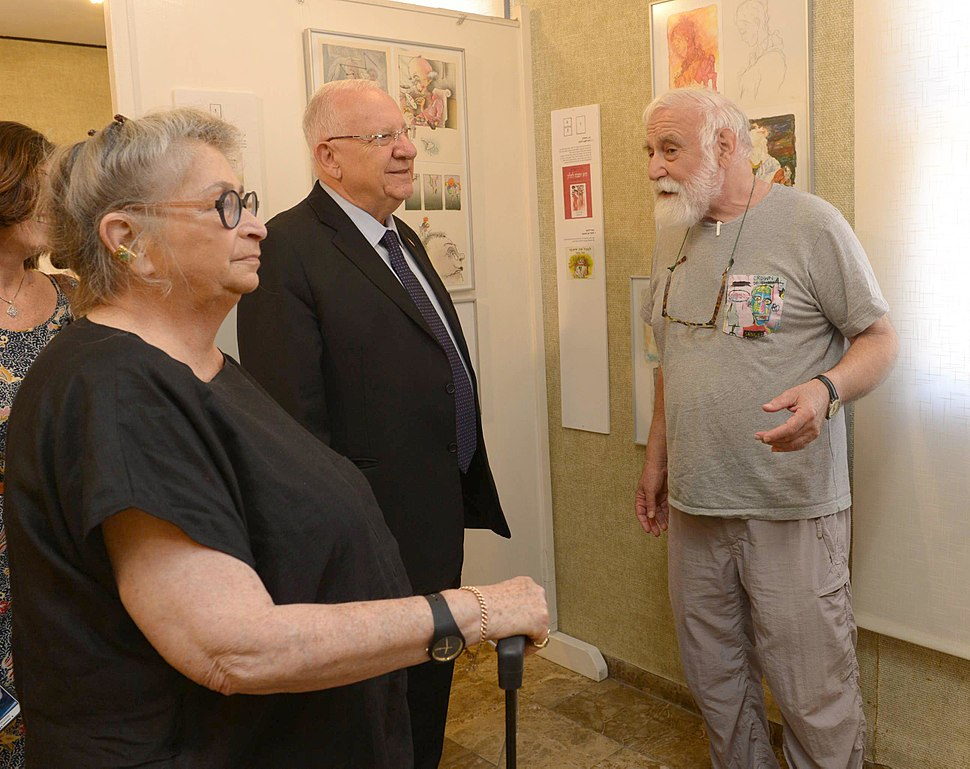 Reuven Rivlin visited with his wife exhibition - 60 years of creation of the illustrator, Danny Kerman