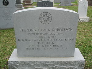 Sterling C. Robertson - Robertson gravestone at Texas State Cemetery in Austin