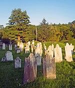 Ein Friedhof;  Grabsteine im Vordergrund in versetzten, unregelmäßigen Reihen;  hinter ihnen grasbewachsene Hügel von Toten;  eine amerikanische Flagge im Hintergrund entlang einer Baumgrenze.