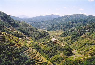 The Banaue Rice Terraces, they are part of the Rice Terraces of the Philippine Cordilleras, ancient sprawling man-made structures which are a UNESCO World Heritage Site.