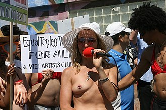 Pasties - A demonstrator protesting for equal rights for women wearing a pastie in the form of nipple