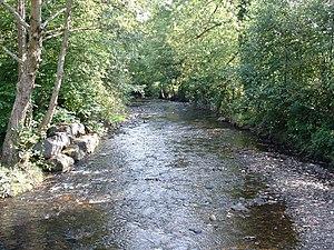 River Llynfi - River Llynfi. From the bridge at Pont Rhyd-y-cyff