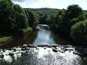 Glais - The River Tawe which is diverted by the moraine in Glais