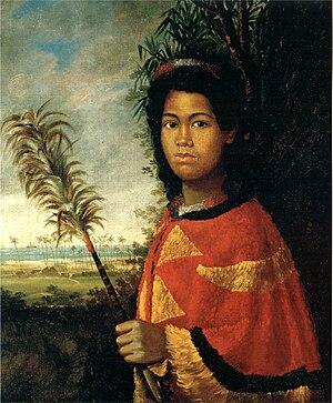 Feather cloak - Princess Nāhi{{okina}}ena{{okina}}ena in her cloak, 1825