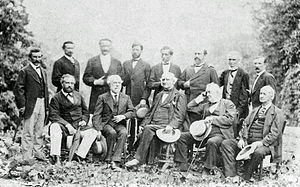 Henry A. Wise - Wise (top row, second from right) with Robert E. Lee and Confederate officers, 1869.