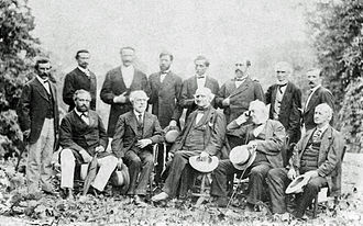 John B. Magruder - Magruder (top row, third from left) with Robert E. Lee and Confederate officers, 1869.