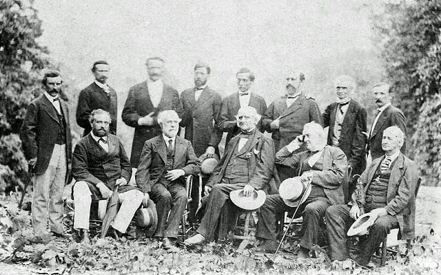 General Lee and his Confederate officers in their first meeting since Appomattox, August 1869. This is the only from life photograph of Lee with his Generals in existence, during the war or after.