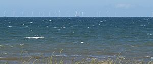 Solway Coast - Robin Rigg wind farm (pictured here while still under construction in 2009) has proven controversial with residents and supporters of the AONB.
