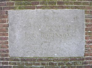John Robinson (pastor) - Marble marker on the former location of John Robinson's home at Leiden