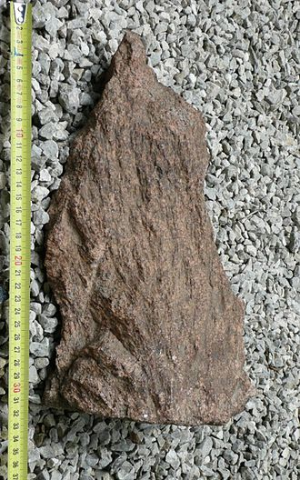 Massif Central (geology) - Shatter cone from the Rochechouart impact structure