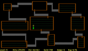 "Rogue (video game) - The ""dungeon"" as it looked on an IBM Color PC"