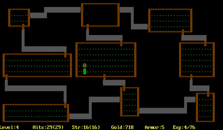 A procedurally-generated dungeon in the 1980 video game Rogue, the game which the roguelike genre is named after Rogue Screen Shot CAR.PNG