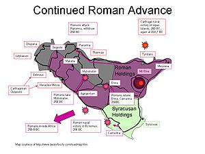 First Punic War - Continued Roman advance 260–256 BC.