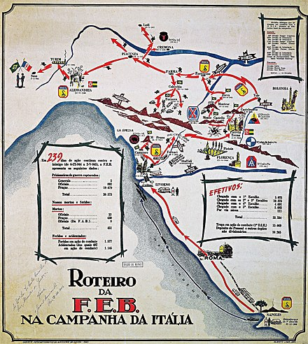 Map of the Brazilian actions in northern Italy, 1944-1945. National Archives of Brazil. Roteiro da FEB na Campanha da Italia.jpg