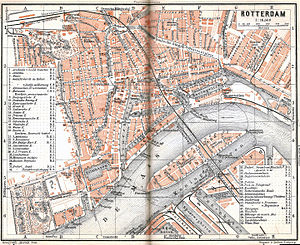 German bombing of Rotterdam - The area north of the Maas river was destroyed during the bombing, shown here on an old 1905 map