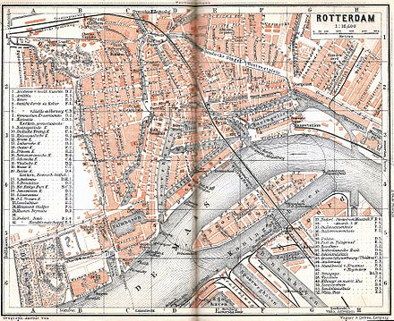 The area north of the Maas river was destroyed during the bombing, shown here on an old 1905 map Rotterdam 1905.jpg