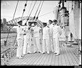 Royal Indian Navy officers on the deck of HMIS HINDUSTAN in Sydney (9289631362).jpg