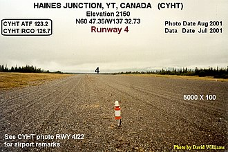 Haines Junction Airport - Image: Runway, Haines Junction airport, Yukon