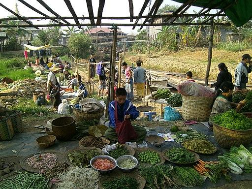 Rural farmer market traditional retail Ywama Inle Lake Myanmar