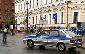 Russia Saint Petersburg Police Car Lada2114 2010-09-19.JPG