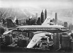 SAS DC-4, Dan Viking, OY-DFI, the first SAS flight over NYC, New York, Manhattan (BW).jpg