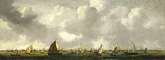1661 in art - Image: SB 6326 Scheepvaart op het IJ voor Amsterdam Profiel der geheele stad van het rijzenhoofd tot aan het Blauwhoofd