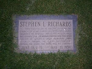 Stephen L Richards - Richards' grave marker