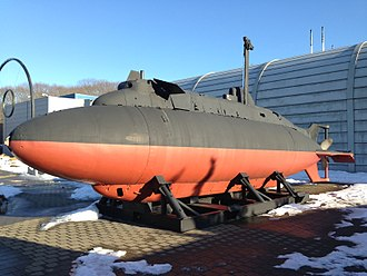 Air-independent propulsion - X-1 midget submarine on display at the Submarine Force Library and Museum in the United States