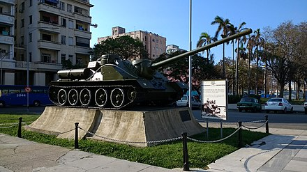 The SU-100 from which Fidel Castro reportedly shelled the freighter Houston during morning of 17 April SU 100 in Havana Cuba.jpg