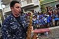 Sailor plays saxophone in Cape Verde (8367036357).jpg