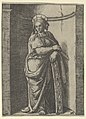 Saint Catherine standing in a niche, resting on a wheel, her instrument of torture MET DP853514.jpg