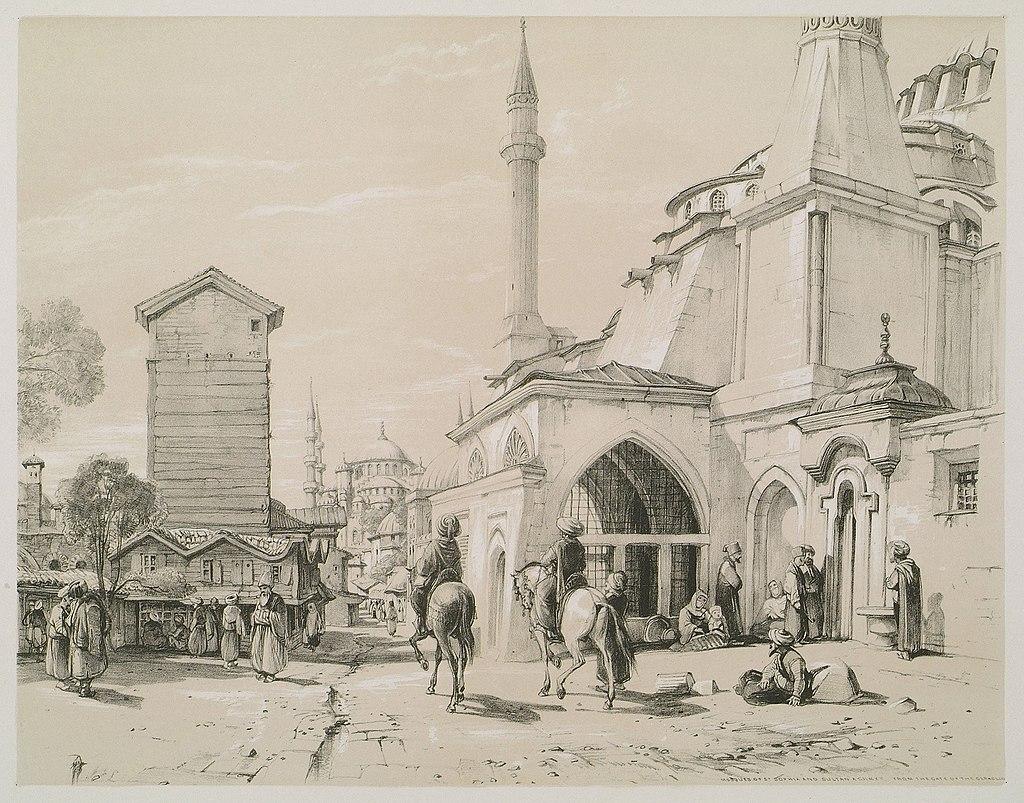 Saint Sophia and distant view of Sultan Achmet (Mosques) - Lewis John F - 1838.jpg