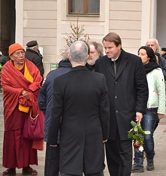 Samdhong Rinpoche - Samdhong Rinpoche as the Special Envoy to the Dalai Lama to the funeral of Vaclav Havel on 23 December 2011 at Prague Castle