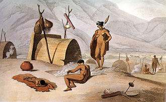 "Khoisan - ""Bosjemans frying locusts"", aquatint by Samuel Daniell (1805)."
