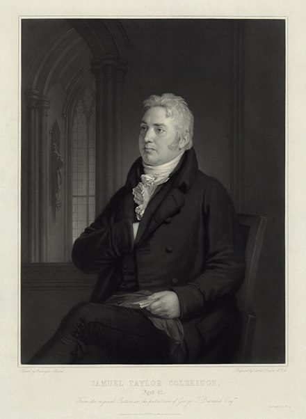 Samuel Taylor Coleridge at age 42, engraving by Samuel Cousins from a portrait by Washington Allston. Digitally restored. Samuel Taylor Coleridge at age 42.jpg