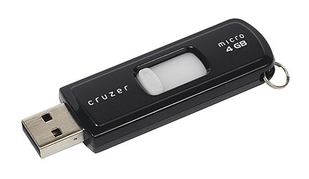 A SanDisk Cruzer USB drive from 2011, with 4GB of storage capacity. SanDisk-Cruzer-USB-4GB-ThumbDrive.jpg