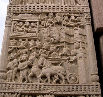 Forts in India - Detail on stupa at Sanchi showing evidence of crenallations and embrasures