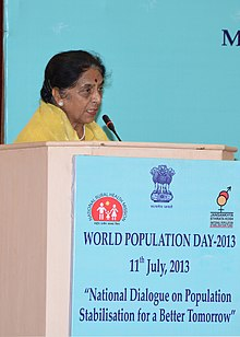 "Santosh Chowdhary addressing the inaugural programme of the ""National Dialogue for Population Stabilization for a Better Tomorrow"", on the occasion of the World Population Day 2013, in New Delhi on July 11, 2013.jpg"