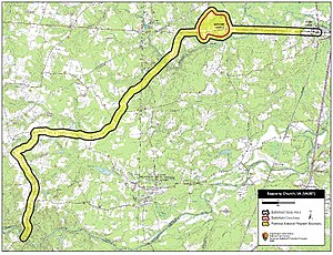 Battle of Sappony Church - Map of Sappony Church Battlefield core and study areas by the American Battlefield Protection Program.