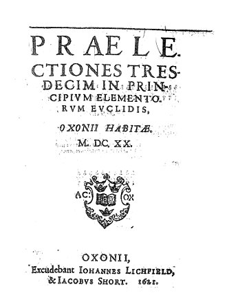Henry Savile (Bible translator) - Title page of Savile's introductory lectures on Euclid's Elements, Praelectiones tresdecim in principium elementorum Euclidis (1621)