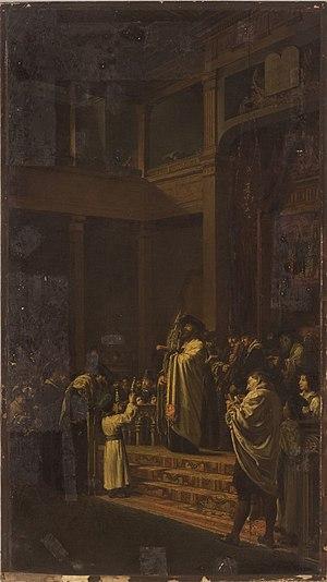Jacques Émile Édouard Brandon - Image: Scene in a Synagogue (1868 1870)