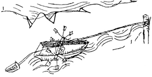 Chain boat navigation - Mariano's concept of ship haulage in his Munich drawing (1438)