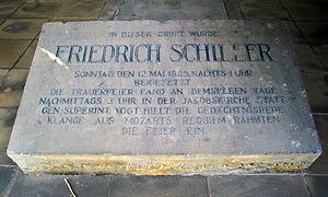 Jacobsfriedhof - Friedrich Schiller's grave inscription in the Kassengewölbe