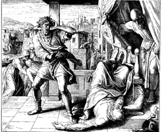"Wife of Phinehas - ""The Death of Eli"" by Julius Schnorr von Carolsfeld, from Die Bibel in Bildern, 1860. The wife of Phinehas is portrayed giving birth in the left of the picture."