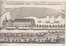 La residenza di caccia che sorgeva prima della costruzione dell'attuale castello in un'incisione del 1672