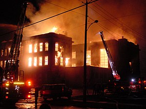 Aberdeen, Washington - The Weatherwax building of Aberdeen High School burned down in 2002.